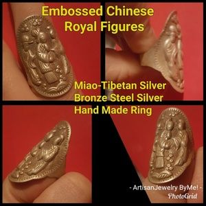 MiaoRoyalRing Embossed Figures TibetSilver AdjRing